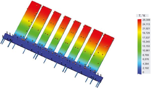 Тепловой расчет рассеивания тепла одной гребенки фильтра на стенку волновода