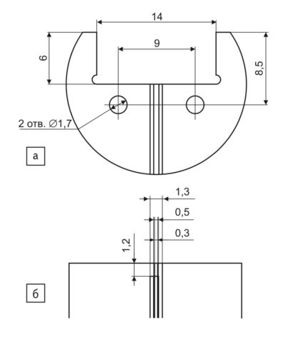 Печатная плата: а) рекомендуемые установочные размеры; б) топология